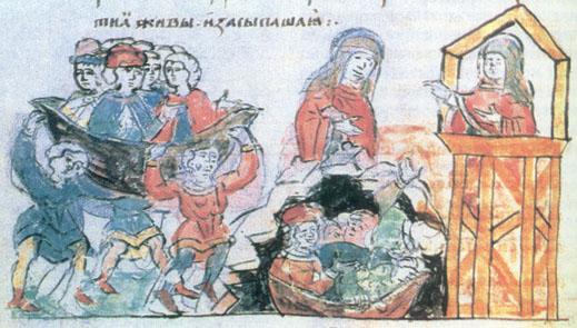 Княгиня Ольга спалює сватів