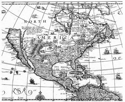 старинная карта Америки