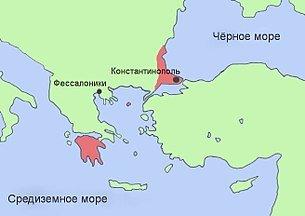 Византия на карте в момент упадка