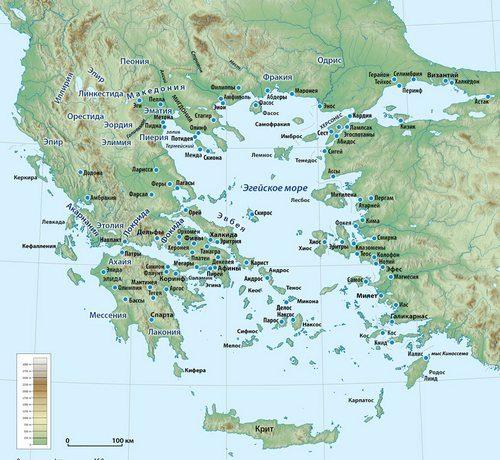 Карта стародавньої Греції