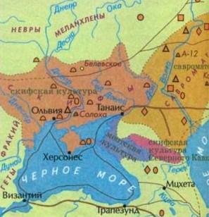 Карта археологічних знахідок скіфських курганів