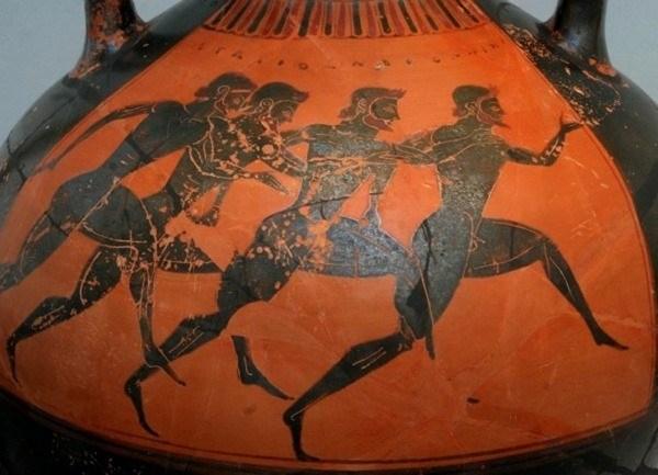 древнегреческие атлеты на вазе